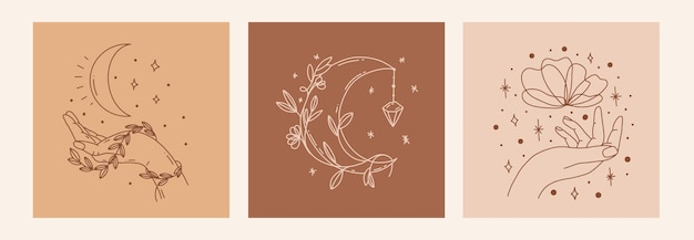 Magic line art poster with moon, hand, flower
