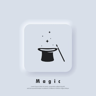 Magic logo. wand magic hat icon. illusionist, party service or event agency. vector. ui icon. neumorphic ui ux white user interface web button. neumorphism