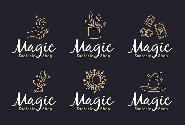 Magic logos set in doodle style for an esoteric shop