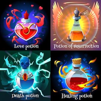 分離されたガラスフラスコの現実的な2x2デザインコンセプトの魔法の愛の復活の癒しと死のポーション