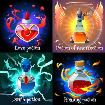 Magic love resurrection healing and death potions in glass flasks realistic 2x2 design concept isolated