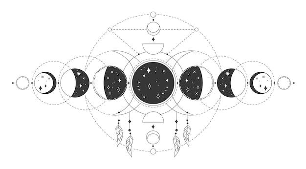 魔法の月の満ち欠け神秘的な神聖な月の満ち欠け