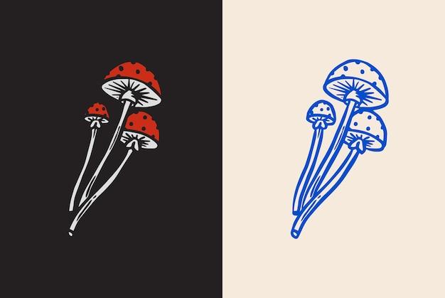 タトゥーデザイン手描きスケッチラインを醸造するためのマジックマッシュルーム