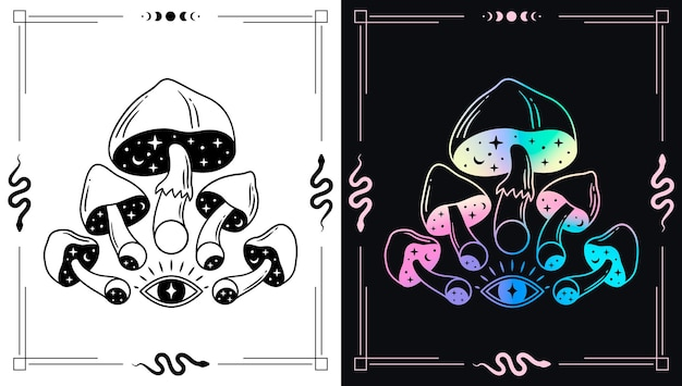 秘教のテーマデザインのためのマジックマッシュルームとムーンフェイズ