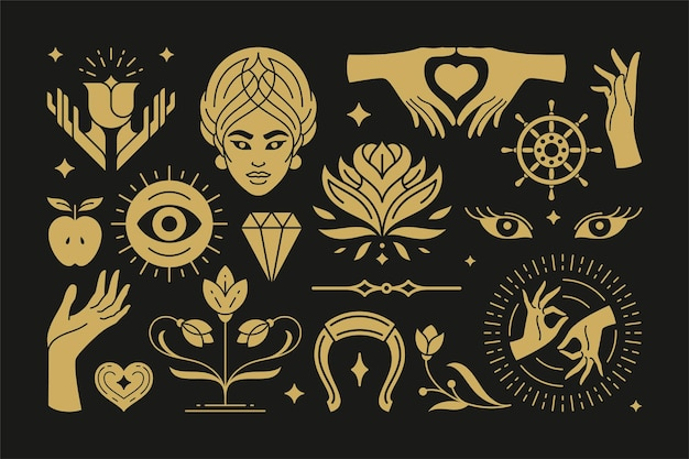 Magic and mystic vector design elements set with female hands gestures