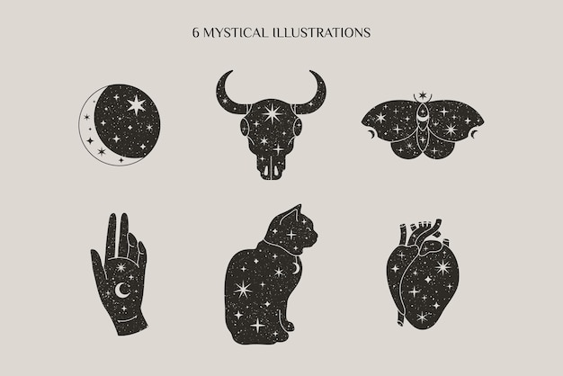 Magic and mystical collection in minimal style with moon, bull skull, butterfly, hand, cat symbols. vector illustrations