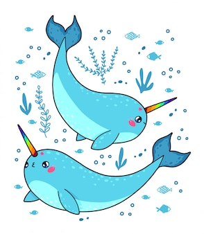 Magic narwhals with a rainbow horn in japan kawaii style