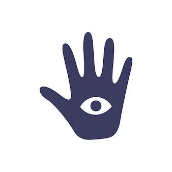 흰색 배경에 눈을 가진 점의 마법의 신비로운 손. 마법과 요술의 속성. 손으로 그린된 벡터 고립 된 단일 그림입니다.