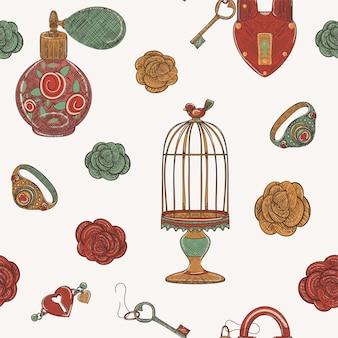 愛の魔法ヴィンテージ古い学校のオブジェクトのシームレスなパターン、手描きイラスト
