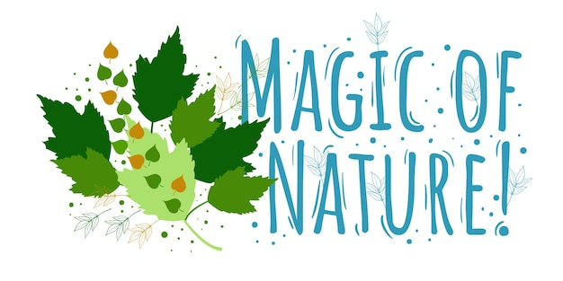 Магия природы цветочный абстрактный дизайн с листьями растений на белом фоне