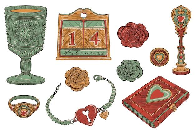 ヴィンテージ愛の魔法、古い学校のトレンドの装飾的なオブジェクトのセット、手描きイラスト