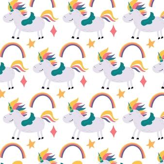 Волшебный узор радуги и единорога. детские обои для декора детской. современные плоские векторные бесшовные иллюстрации