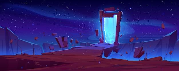Волшебный портал на горной скале с летающими камнями вокруг