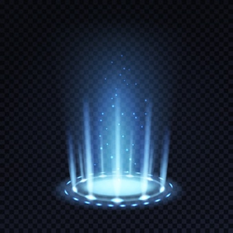 Magic portal. realistic light effect with blue beam and glowing particles