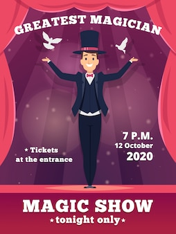 Magic poster invitation. circus magician show placards template red curtains shows of wizard tricks background