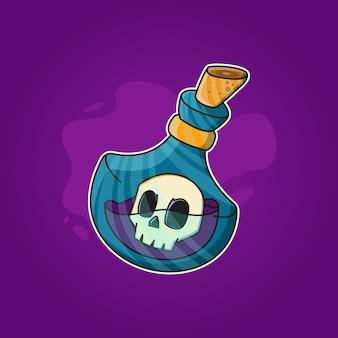 Magic potion bottle with inside skull