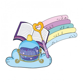 Magic potion bottle with wand and book