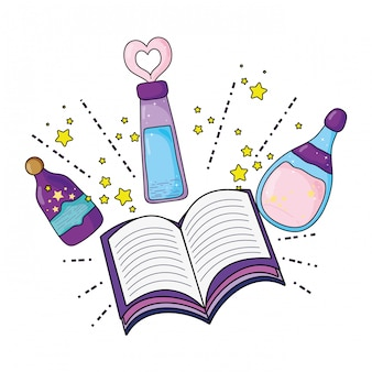 Magic potion bottles with book