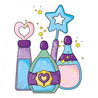 Magic potion bottles with wand