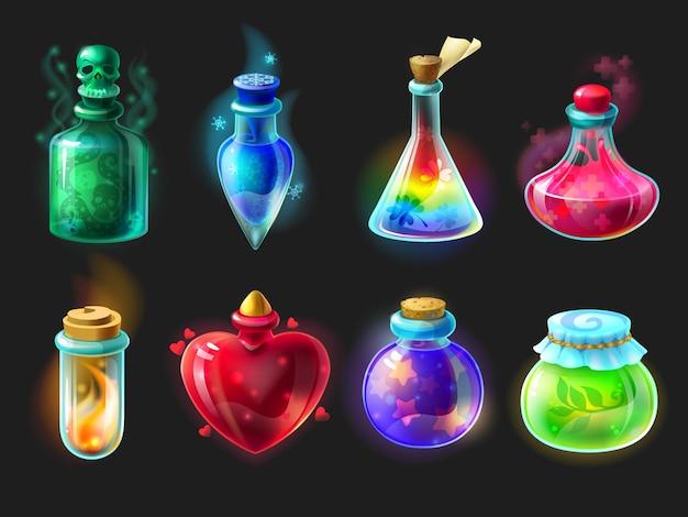Магическое зелье. мультяшные элементы интерфейса игры, алхимические бутылки с эликсиром, ядом, противоядием и приворотным зельем. векторные объекты фэнтези и сказки для графического интерфейса дизайна