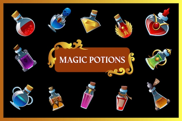 Magic potion game  with isolated mini bottles and colored liquid inside