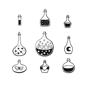 Волшебное зелье, стеклянная бутылка, гравировка векторные иллюстрации. атрибут оккультного волшебного зелья для колдовства.