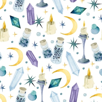 Magic potion watercolor witchcraft seamless pattern wallpaper