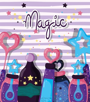 Magic potions with mystery effect and stars