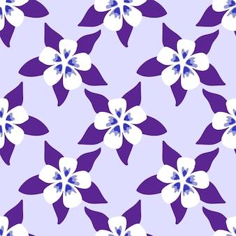 마법의 보라색 귀여운 꽃 완벽 한 패턴입니다. 섬유 배경 모자이크 디자인