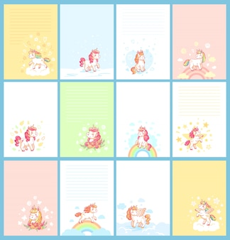 Magic rainbow colorful cute baby unicorn cartoon
