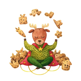 마법의 순록과 초콜릿 칩 쿠키. 어린이 크리스마스 그림.