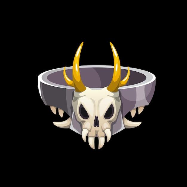 動物の頭蓋骨、魔法使いの宝石と魔法の指輪。