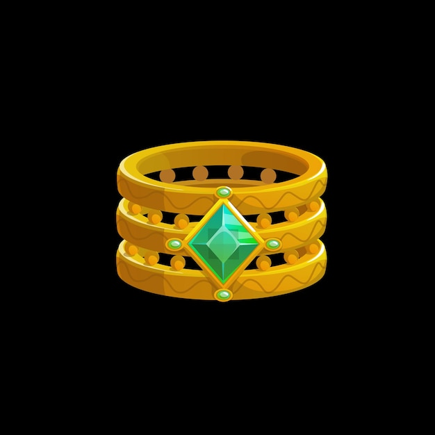 Magic ring of the wizard with green gemstones, vector sorcerer golden jewelry. fantasy gold witch jewel with precious gem crystals. cartoon ui element, isolated graphic design asset for computer game