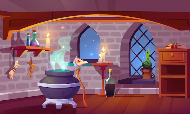 Magic room interior with witch stuff cauldron, staff with bird skull, burning candles, potion in beakers, bones and potted plant front of arch window with starry sky view, pc game cartoon illustration