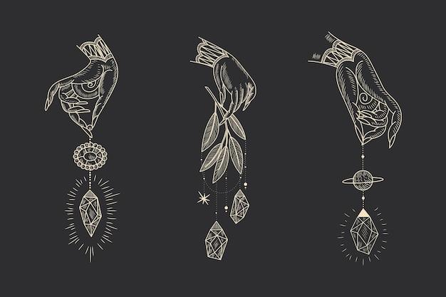 ヴィンテージレトロな彫刻スタイルの魔法の神聖なイラスト