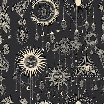 빈티지 복고 조각 스타일의 마법의 신성한 그림