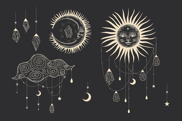 Magic sacred illustration in vintage retro engraving style