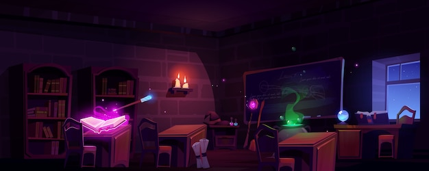 Magic school classroom at night