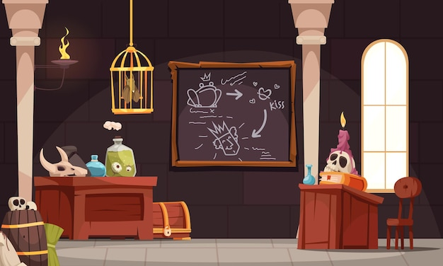 Magic school composition with indoor interior view of fantasy class with skulls candles and potion jars