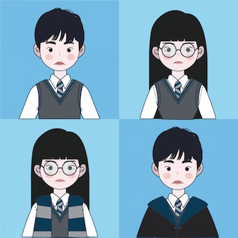 Magic school uniform set. wizard illustration.