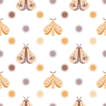 Magic seamless pattern  boho butterfly moth with sun moon stareye isolated on white background