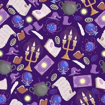 Magic seamless pattern preparing poison in cauldron taro cards candles