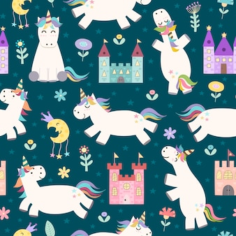 Magic seamless pattern with cute little unicorn and castles
