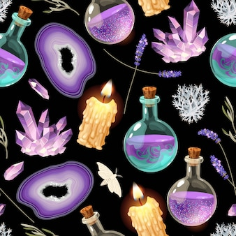 Magic seamless pattern with glass flasks, magic crystals and candles