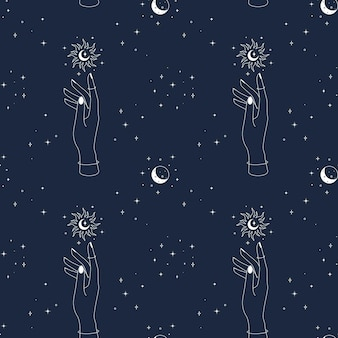 Magic seamless pattern with hand sun moon and stars mystical esoteric and celestial dark blue backgr...