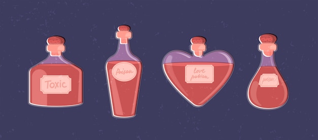 Magic set of potion bottles