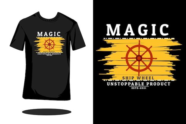 마법의 배 바퀴 복고풍 t 셔츠 디자인
