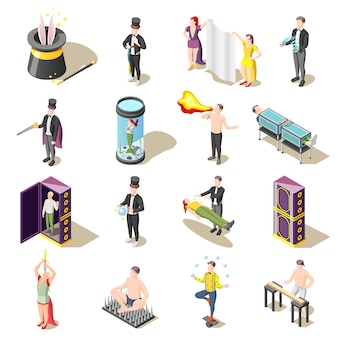 Magic show isometric with levitation, danger tricks,  juggler, mysteries of illusionist
