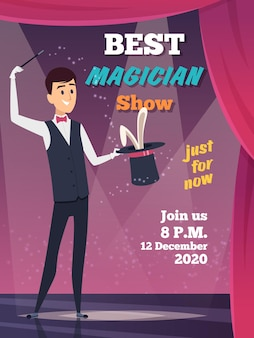 Magic show poster. magician character show tricks wizard with mystery cap  placard invitation.