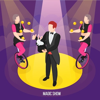 Magic show of street artists isometric composition conjurer during trick and girls jugglers on unicycles